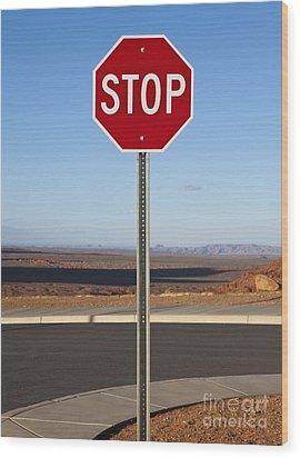 Stop Sign In The Desert Wood Print by Paul Edmondson