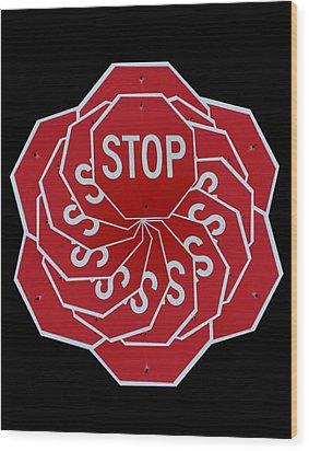 Stop Sign Kalidescope Wood Print by Denise Keegan Frawley