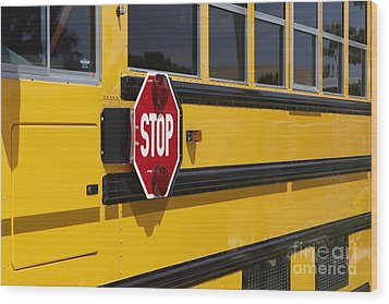 Stop Sign On A School Bus Wood Print by Skip Nall