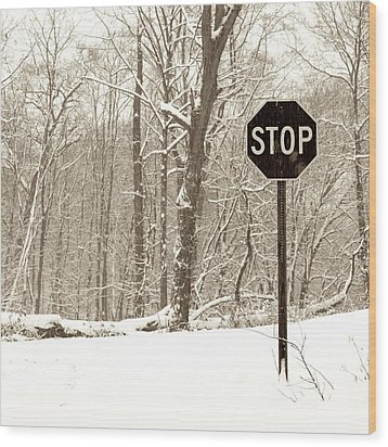 Stop Snowing Wood Print by John Stephens