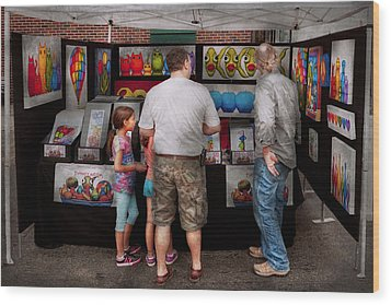 Store Front - Artist - Puppy Love  Wood Print by Mike Savad