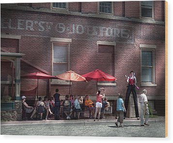 Storefront - Bastile Day In Frenchtown Wood Print by Mike Savad