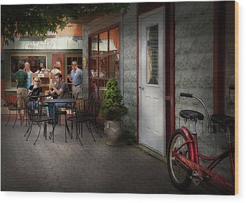 Storefront - Frenchtown Nj - At A Quaint Bistro  Wood Print by Mike Savad