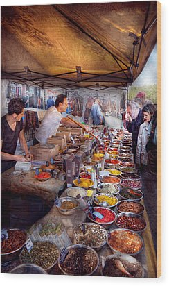 Storefront - The Open Air Tea And Spice Market  Wood Print by Mike Savad