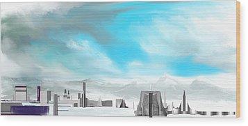 Storm Approachs Strange City Wood Print by David Lane
