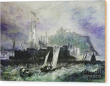 Storm At Scarborough Wood Print by Lianne Schneider