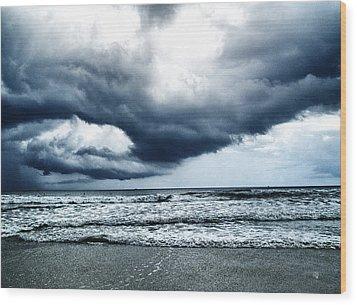 Storm At Sea Wood Print by Barbara Middleton