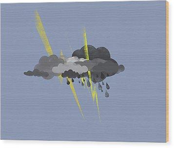 Storm Clouds, Lightning And Rain Wood Print by Jutta Kuss