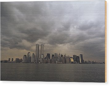 Storm Clouds Over Lower Manhattan Wood Print by Medford Taylor