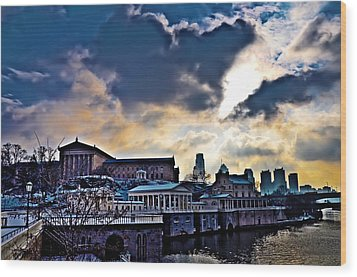 Storm Clouds Over Philadelphia Wood Print by Bill Cannon