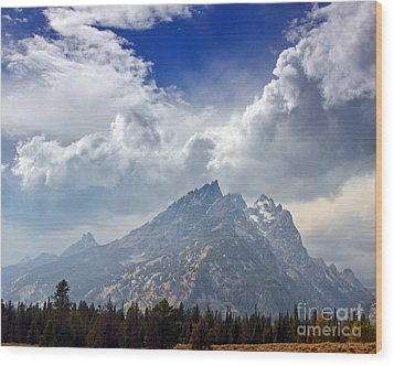 Storm Clouds Over The Grand Tetons Wood Print by Nature Scapes Fine Art