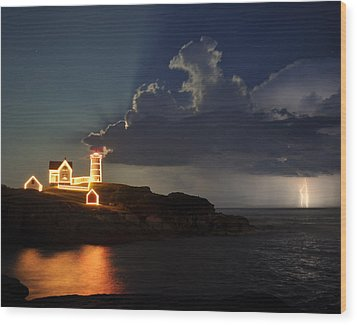 Storm Energizes The Lightning And The Lighthouse Wood Print by Rick Frost