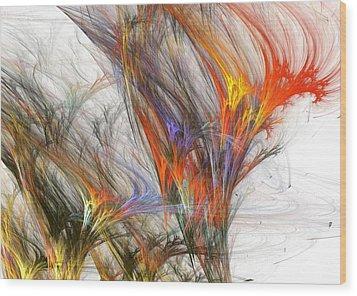 Storm In Fractal-trees Wood Print by Steve K