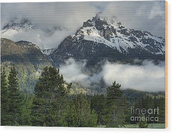 Storm  In The Tetons Wood Print by Sandra Bronstein