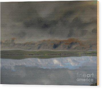 Storm On Land Wood Print