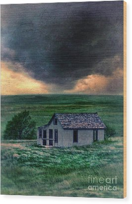 Storm Over Abandoned House Wood Print by Jill Battaglia