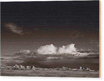 Storm Over Badlands Wood Print by Steve Gadomski
