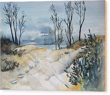 Storm Over Erie Wood Print by Ramona Kraemer-Dobson