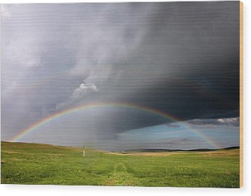 Storm Rainbow Prairie Wood Print by Ryan McGinnis