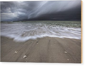 Storm Rolling Wood Print by Nick  Shirghio