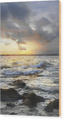 Storm Waves Wood Print by Francesa Miller