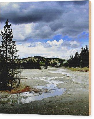 Stormclouds Over Norris Basin Wood Print by Ellen Heaverlo