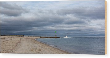 Stormy Evening Bass River Jetty Cape Cod Wood Print by Michelle Wiarda