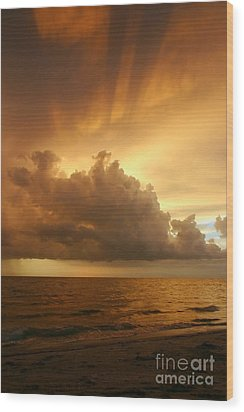 Stormy Gulf Coast Sunset Wood Print by Matt Tilghman