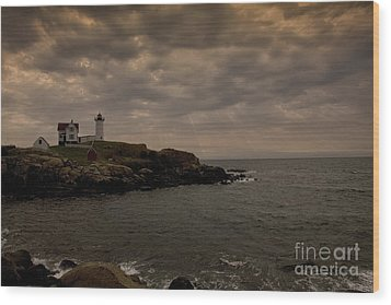 Stormy Nubble Wood Print by Timothy Johnson