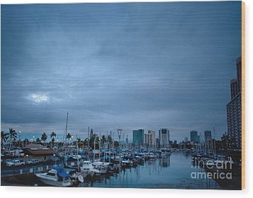 Stormy Skies Over Boat Harbor At Night, Honolulu, Hawaii Wood Print by Inti St. Clair