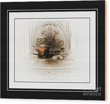 Stove Patent 1885 Wood Print by Elaine Manley
