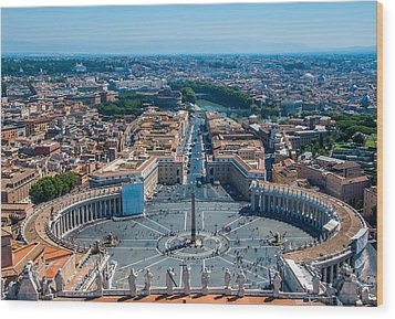 St.peter's Square And Part Of Rome Wood Print by Stavros Argyropoulos