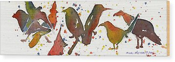 Strange Birds Wood Print by Miindy Newman