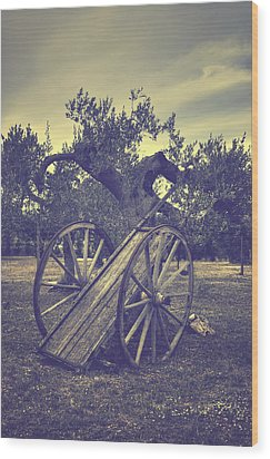 Straw Cart Wood Print by Joana Kruse