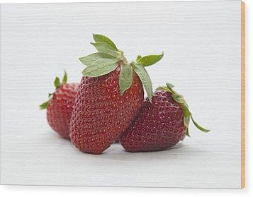 Strawberries Wood Print by Serene Maisey