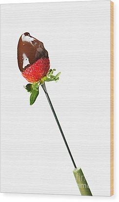 Strawberry Dipped In Chocolate Wood Print by Elena Elisseeva