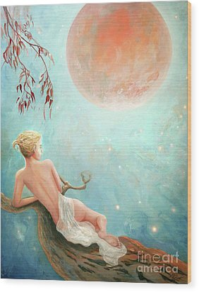 Strawberry Moon Nymph Wood Print by Michael Rock