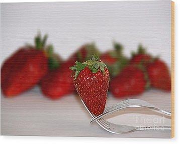 Strawberry On Spoon Wood Print by Soultana Koleska