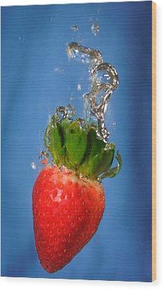 Strawberry Plunge Wood Print by John White