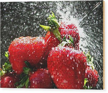 Strawberry Splatter Wood Print by Colin J Williams Photography