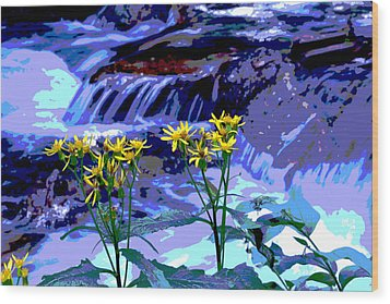 Wood Print featuring the photograph Stream And Flowers by Zawhaus Photography