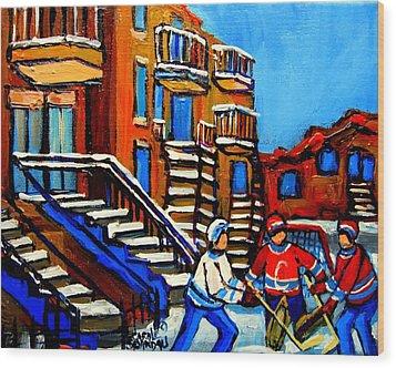 Street Hockey Near Staircases Montreal Winter Scene Wood Print by Carole Spandau