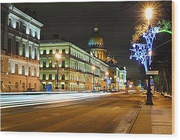 Street In Saint Petersburg Wood Print by Roman Rodionov