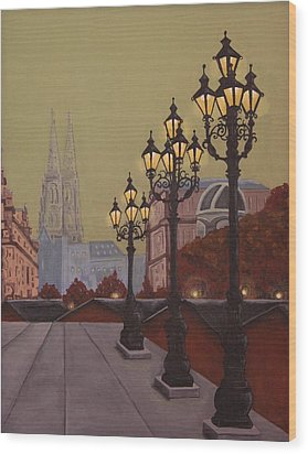 Street Lamps Wood Print by Jennifer Lynch