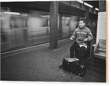 Street Musician In Subway Station In New York City Wood Print by Ilker Goksen