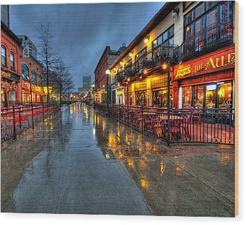 Street Reflections Wood Print by Andre Faubert