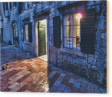 Street Scene In Ancient Kotor Montenegro Wood Print by David Smith