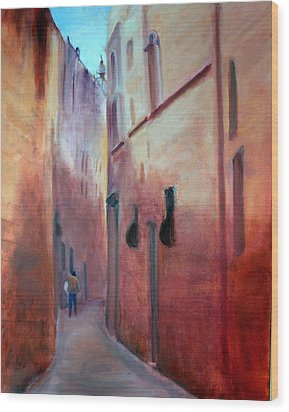 Wood Print featuring the painting Street Scene  Malta by Rosemarie Hakim
