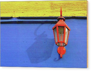 Streetlamp With Primary Colors Wood Print by by Felicitas Molina