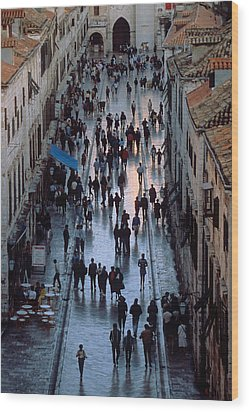 Streets Of Dubrovnik Wood Print by Carl Purcell